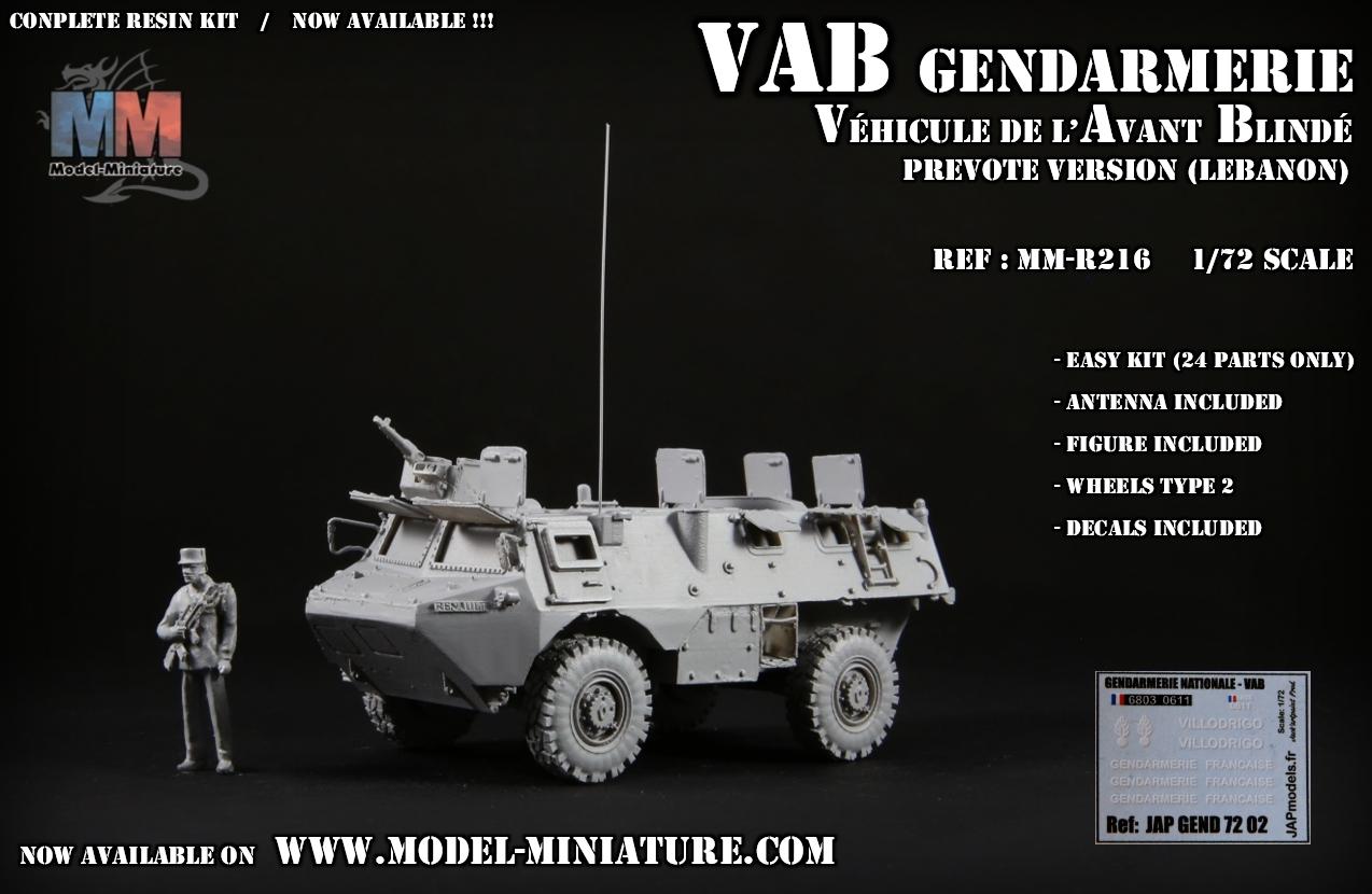 vab gendarmerie liban lebanon prevote model maquette 1.72 scale 7.62mm