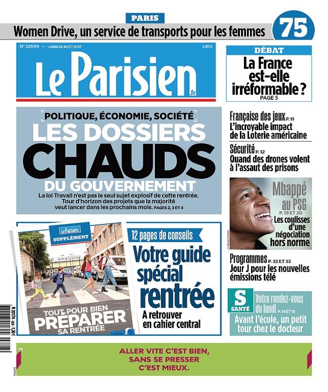 Le Parisien Du Lundi 28 Août 2017