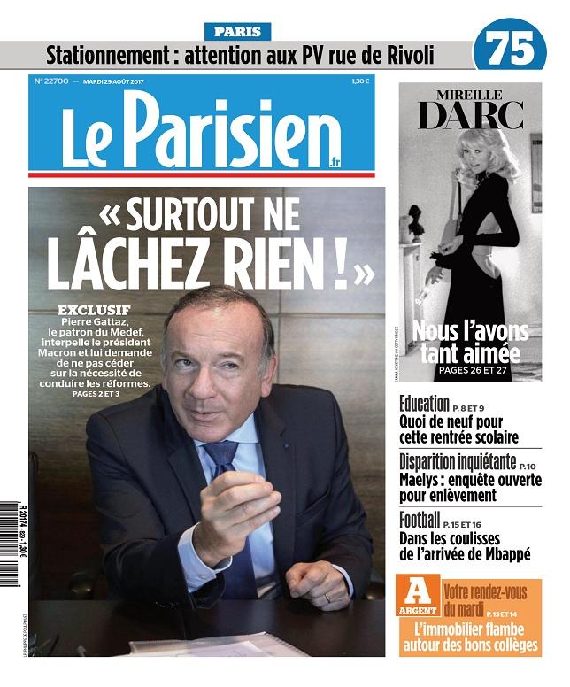 Le Parisien Du Mardi 29 Août 2017