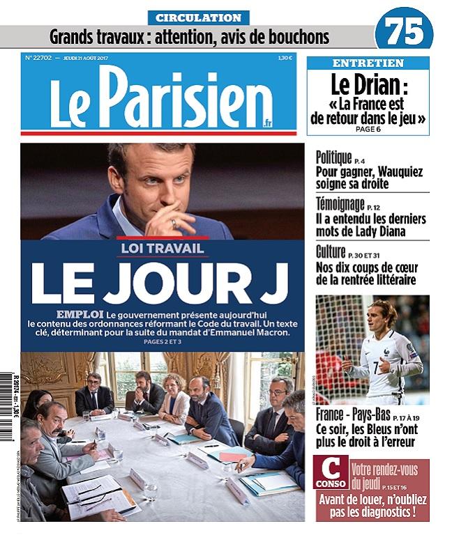 télécharger Le Parisien + 3 Départements Du Jeudi 31 Aout 2017