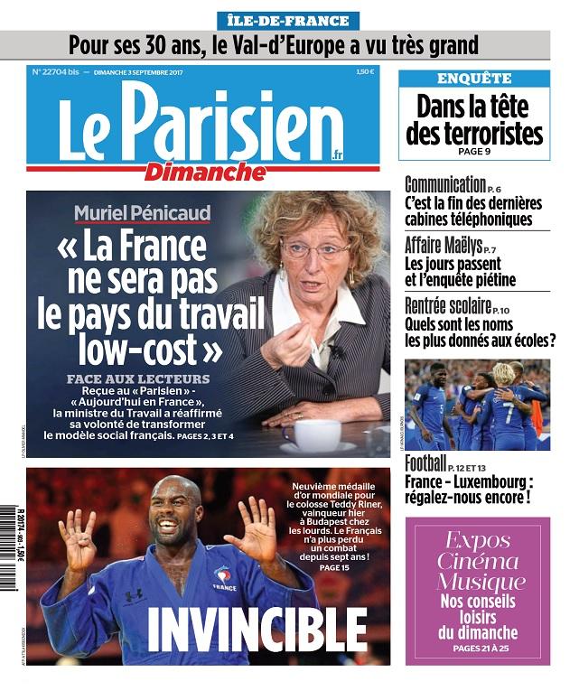 Le Parisien Dimanche + Supplément Ile De France Du 3 Septembre 2017