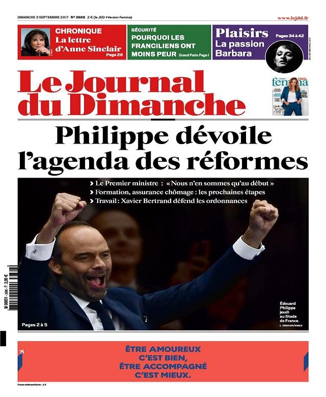 Le Journal Du Dimanche N°3686 Du 3 Septembre 2017