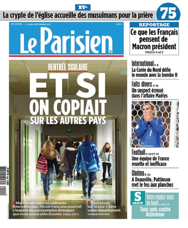 Le Parisien + 3 Départements Du Lundi 4 Septembre 2017
