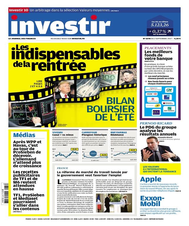 Investir N°2278 Du 2 Septembre 2017