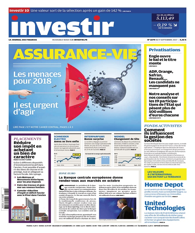 Investir N°2279 Du 9 Septembre 2017