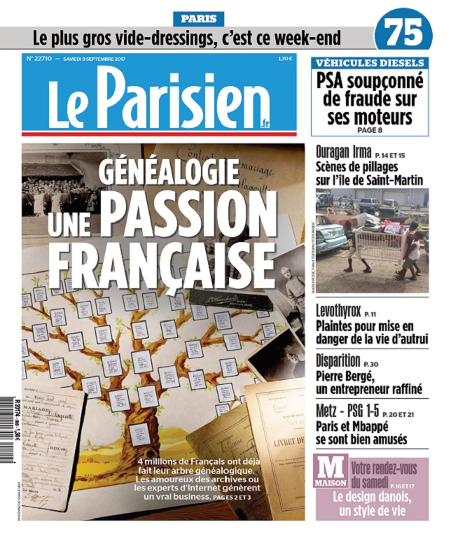 Le Parisien + 3 Départements Du Samedi 9 Septembre 2017