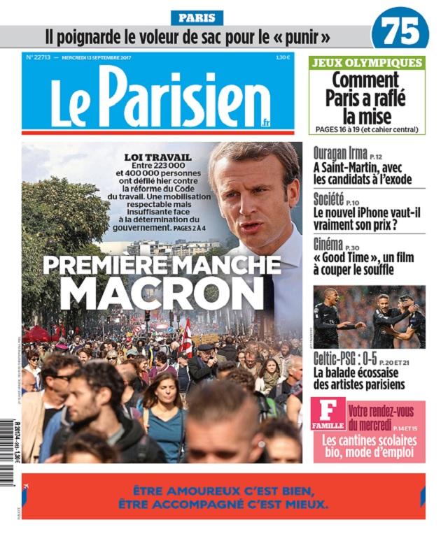 Le Parisien Du Mercredi 13 Septembre 2017
