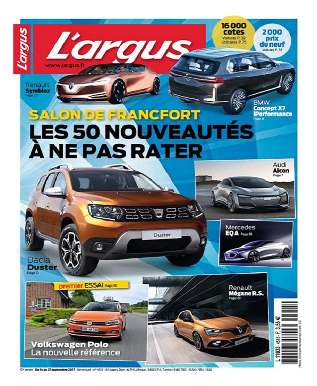 L'Argus N°4515 Du 14 Au 27 Septembre 2017