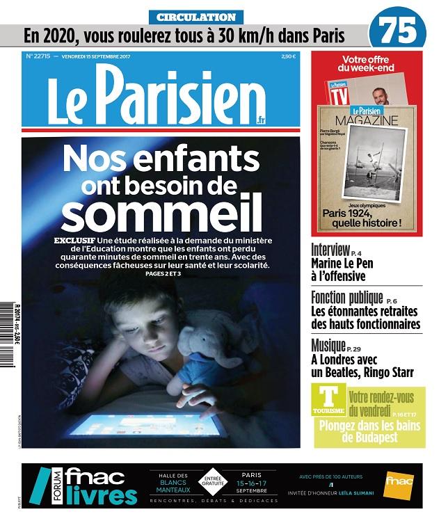 Le Parisien + Magazine + 3 Départements Du Vendredi 15 Septembre 2017