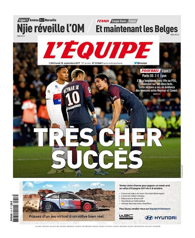 télécharger L'Equipe Du Lundi 18 Septembre 2017