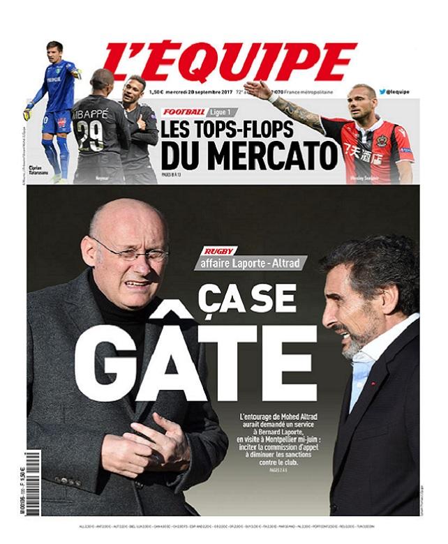 L'Equipe Du Mercredi 20 Septembre 2017