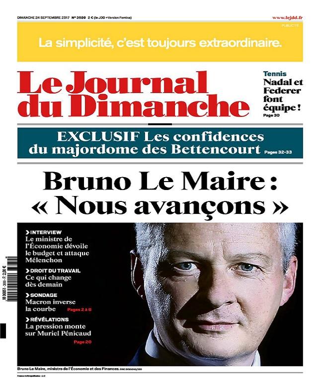 télécharger Le Journal Du Dimanche N°3689 Du 24 Septembre 2017