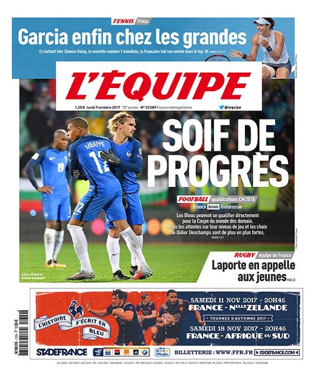 télécharger L'Equipe Du Lundi 9 Octobre 2017