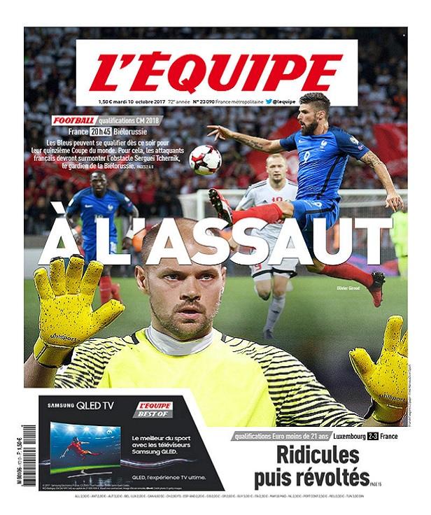 télécharger L'Equipe Du Mardi 10 Octobre 2017