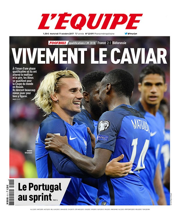 télécharger L'Equipe Du Mercredi 11 Octobre 2017