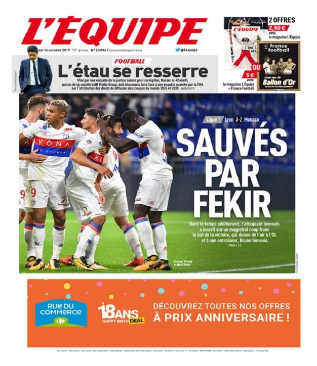 télécharger L'Equipe Du Samedi 14 Octobre 2017