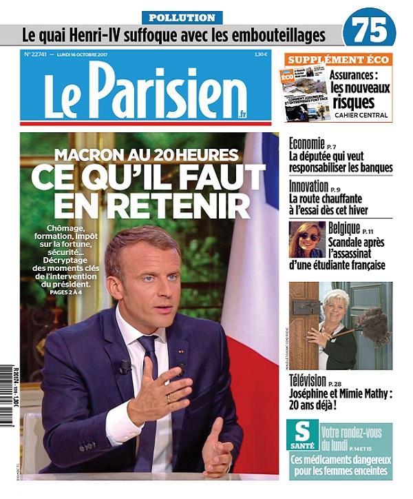 Le Parisien Du Lundi 16 Octobre 2017