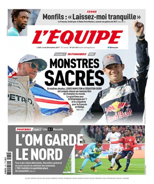 télécharger L'Equipe Du Lundi 30 Octobre 2017