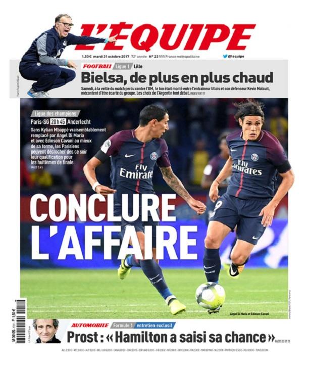télécharger L'Equipe Du Mardi 31 Octobre 2017