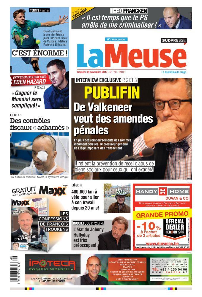 La Meuse 18 11 17 Belgique