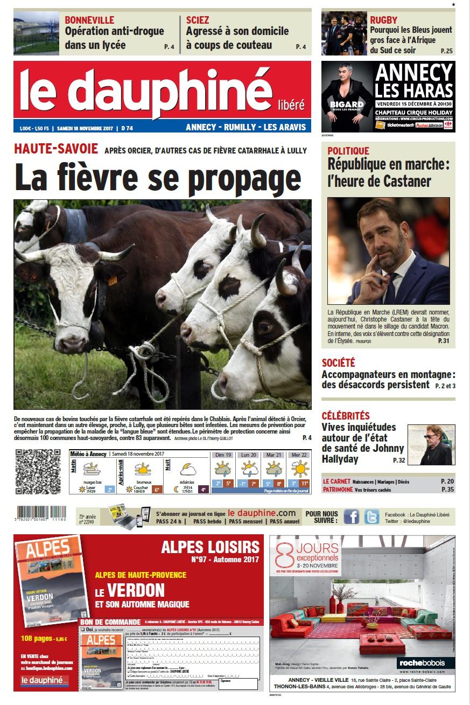 Le dauphiné libéré 18 11 17 éd Annecy