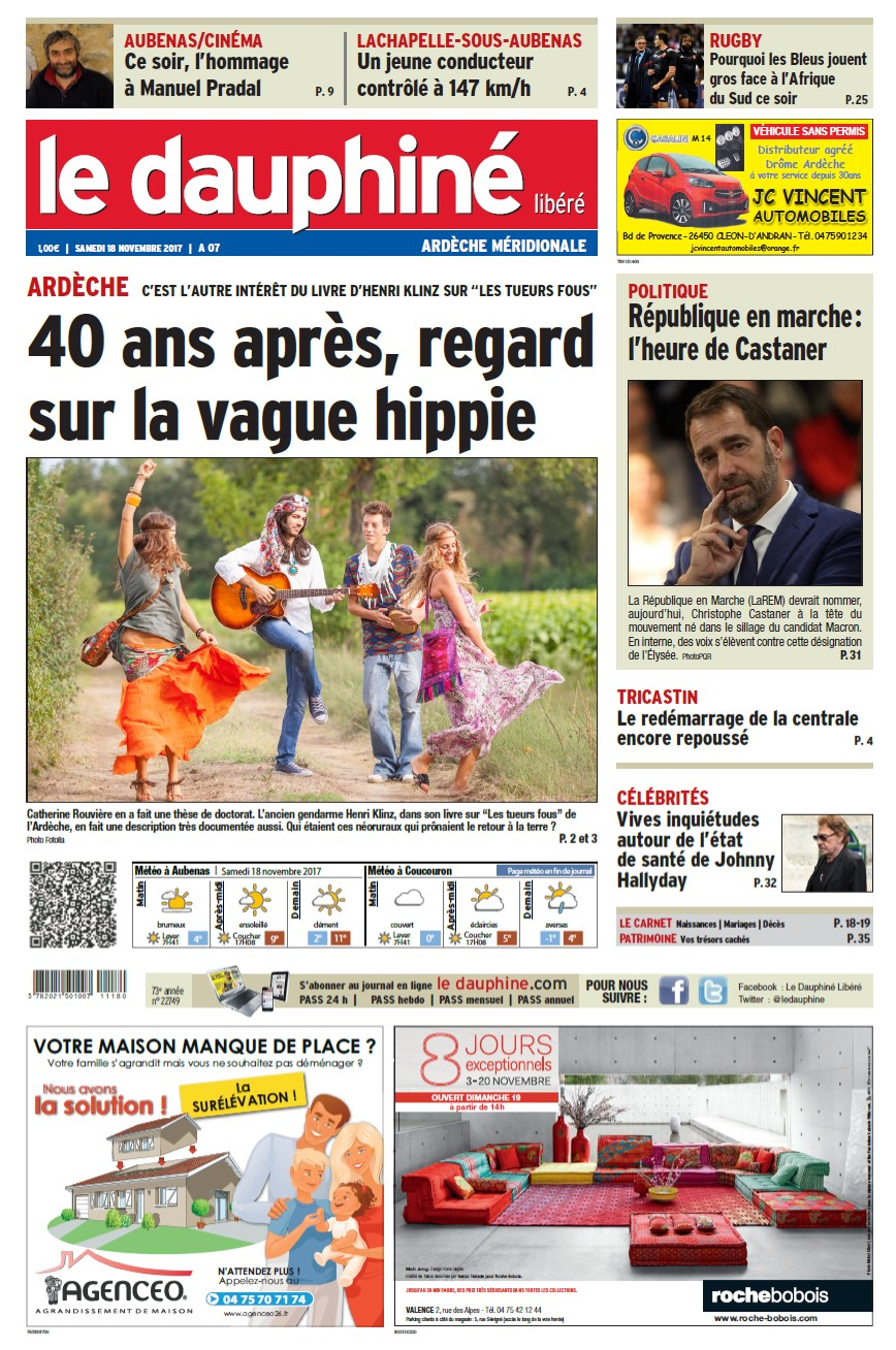 Le dauphiné libéré 18 11 17 éd Ardèche