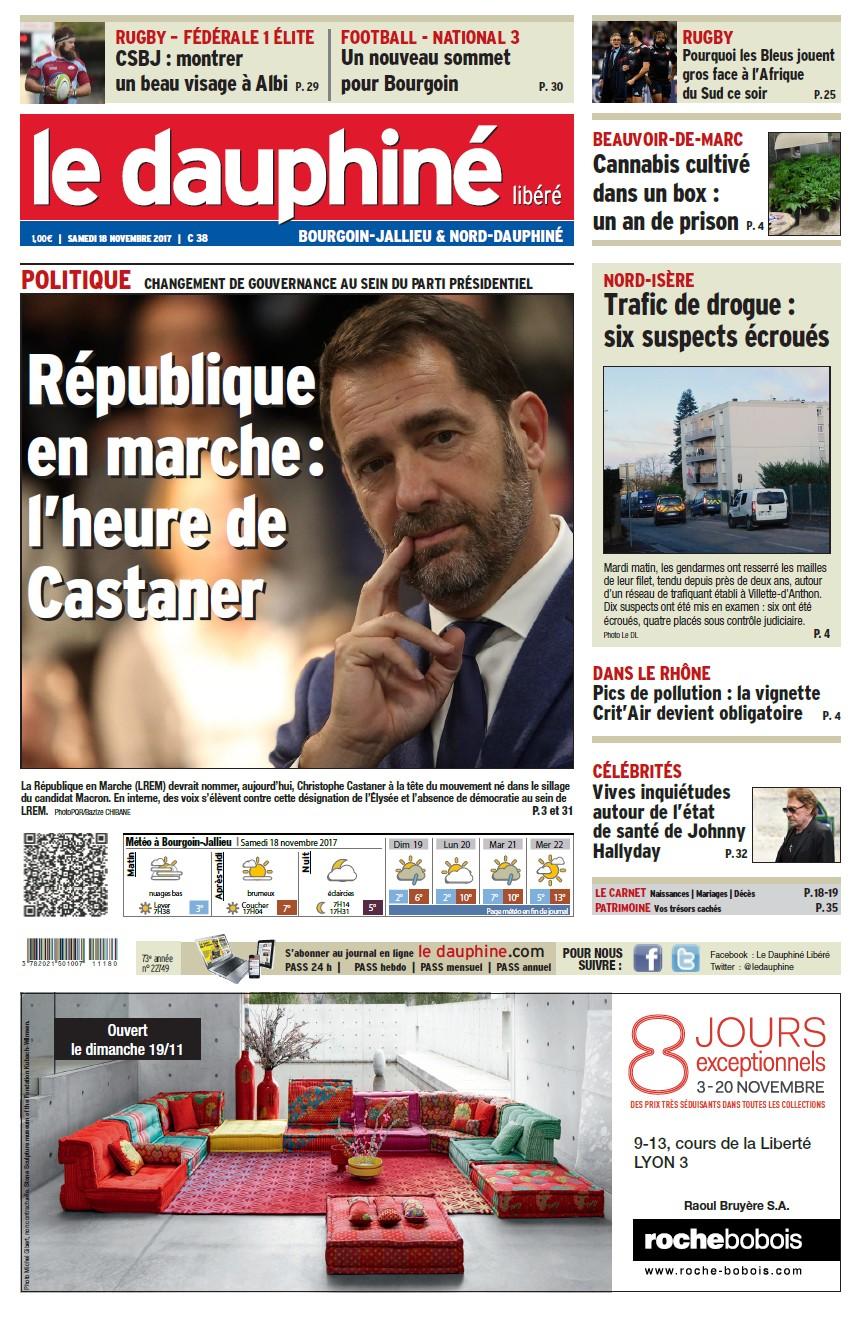 Le dauphiné libéré 18 11 17 éd Bourgoin-Jallieu