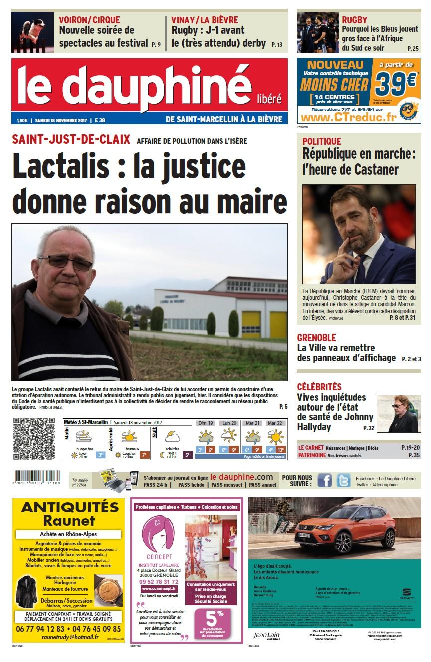 Le dauphiné libéré 18 11 17 éd Saint-Marcellin