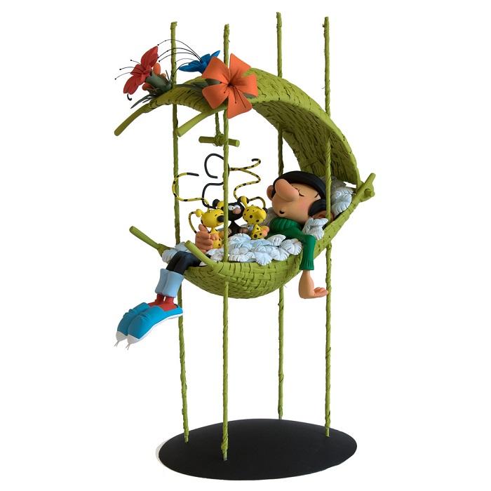 Figurines-Gaston-dans-le-nid-des-bebes-marsupilami-affiche-fariboles