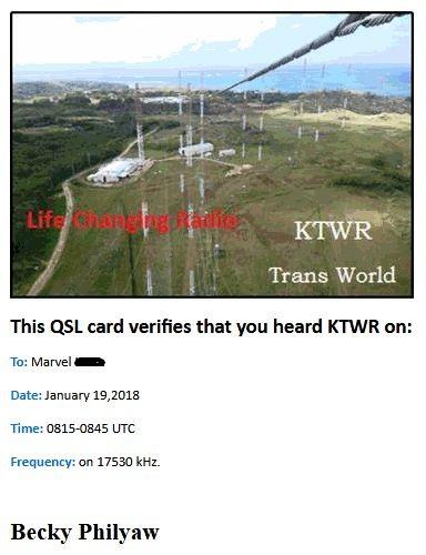 eQSL de KTWR (GUAM). 180124110024805432