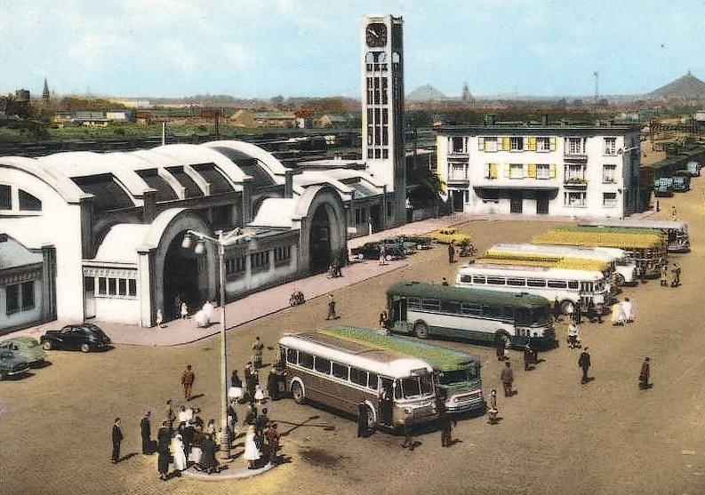 LENS, place de la Gare, autocars, autobus-CPSM-006-?