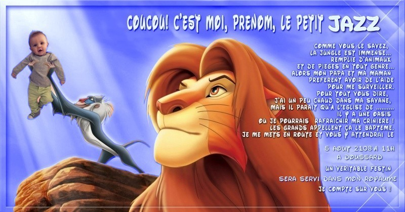 Faire part bapteme le roi lion  - Page 2 180321084132398876