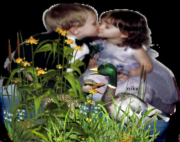 enfants et canard