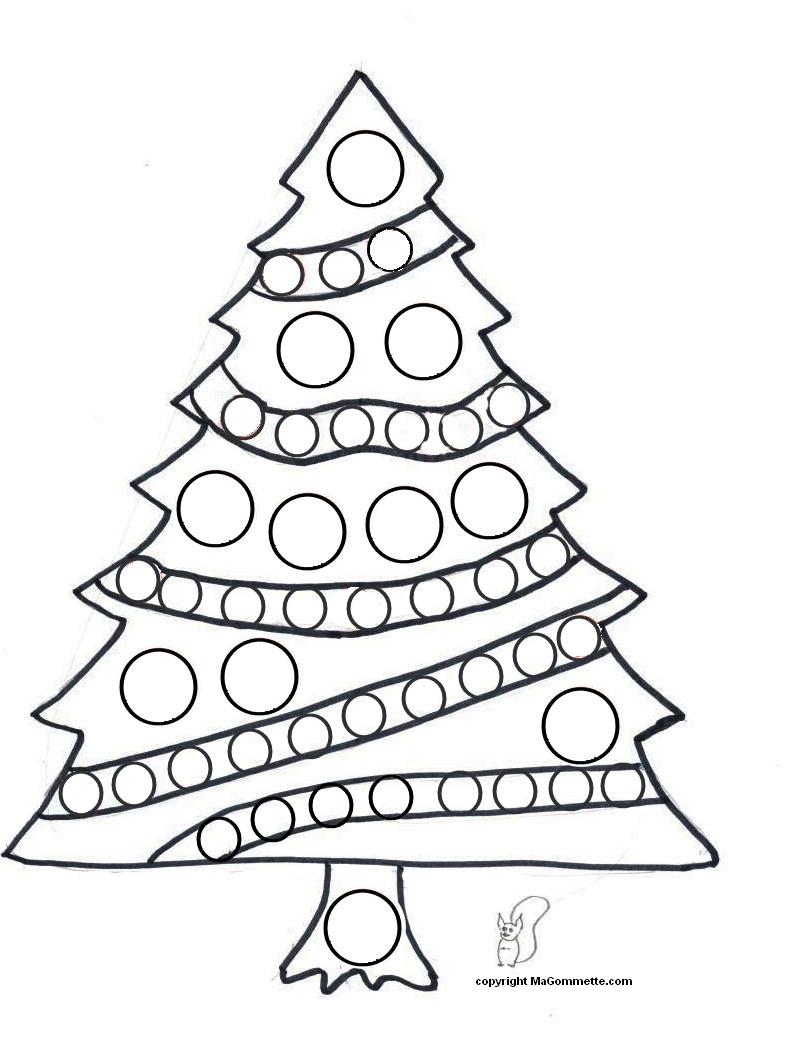 Dessin pour Gommette Sapin de Noel - Modèles de dessins à imprimer pour Gommettes - MaGommette
