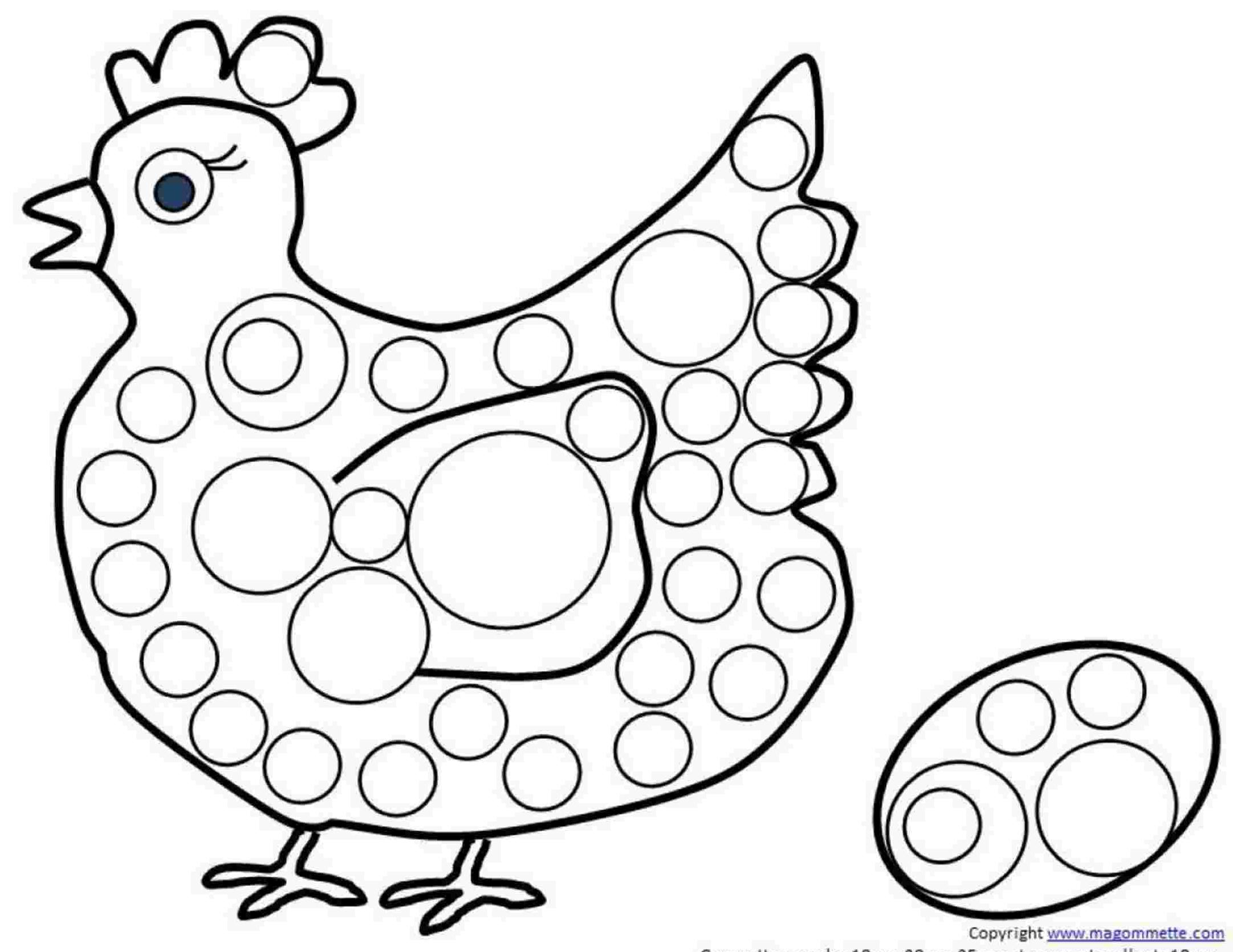 Modele De Dessin A Imprimer Avec Gommettes La Poulette Et Son