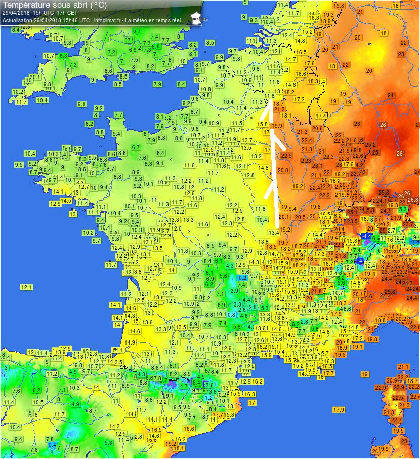 Analyse - Infoclimat France carte temp?ratures 2018-04-29 - 15h