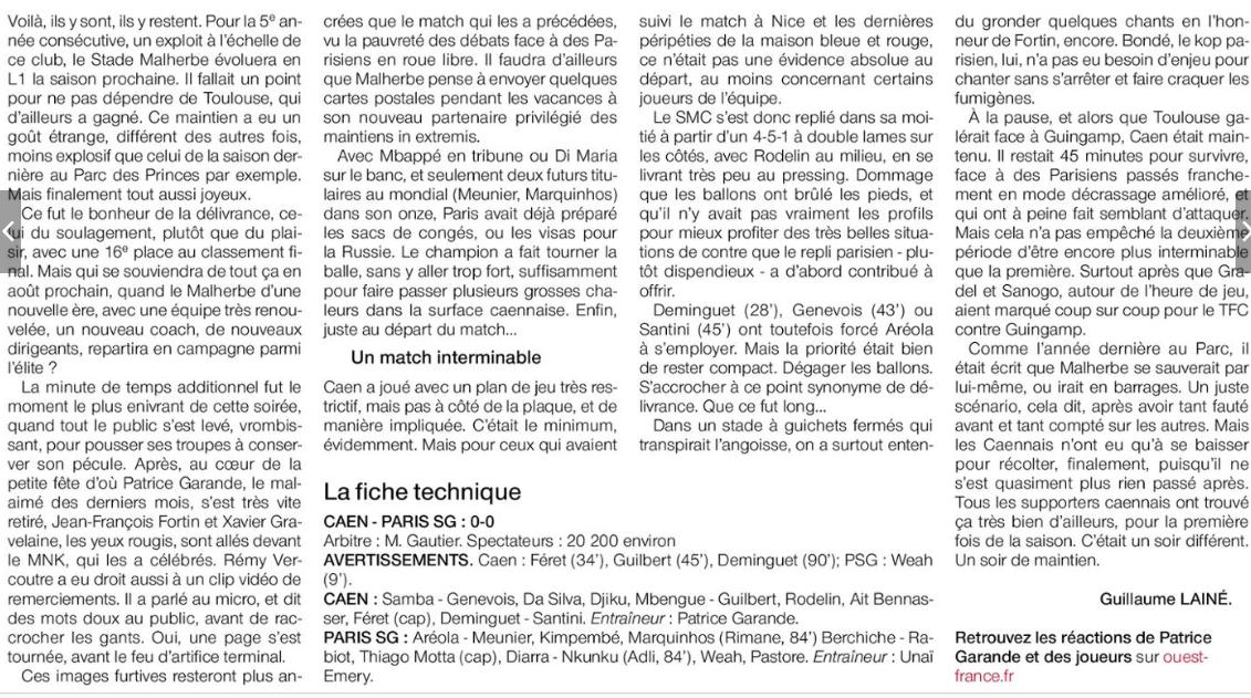 [38e journée de L1] SM Caen 0-0 Paris SG - Page 2 180520095322589549