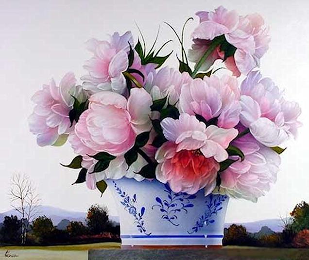 Bouquet dans un vase, une corbeille, une coupe, une poterie  180712120153390202