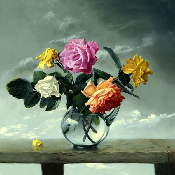 Bouquet dans un vase, une corbeille, une coupe, une poterie  180712120309357189