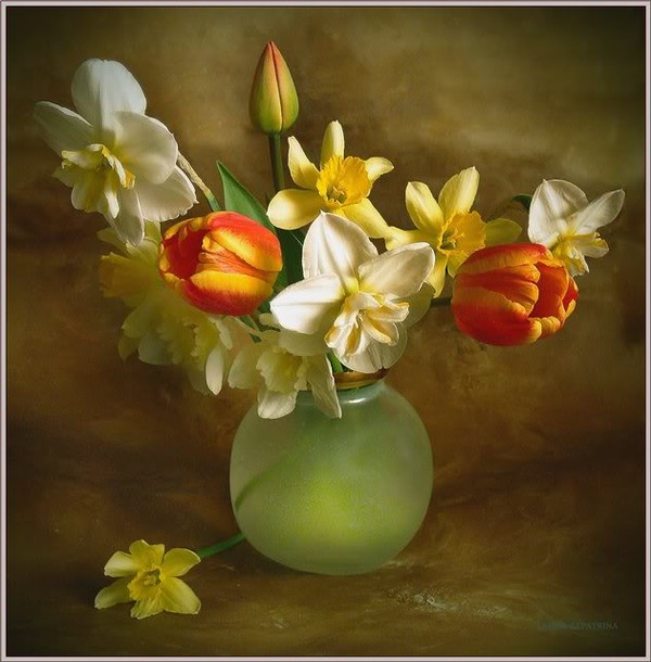 Bouquet dans un vase, une corbeille, une coupe, une poterie  180712120414256227