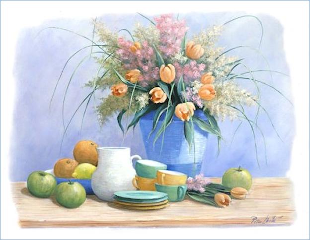 Bouquet dans un vase, une corbeille, une coupe, une poterie  180724110139691216