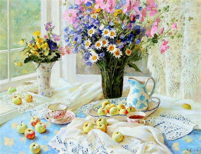 Bouquet dans un vase, une corbeille, une coupe, une poterie  180808124843619835