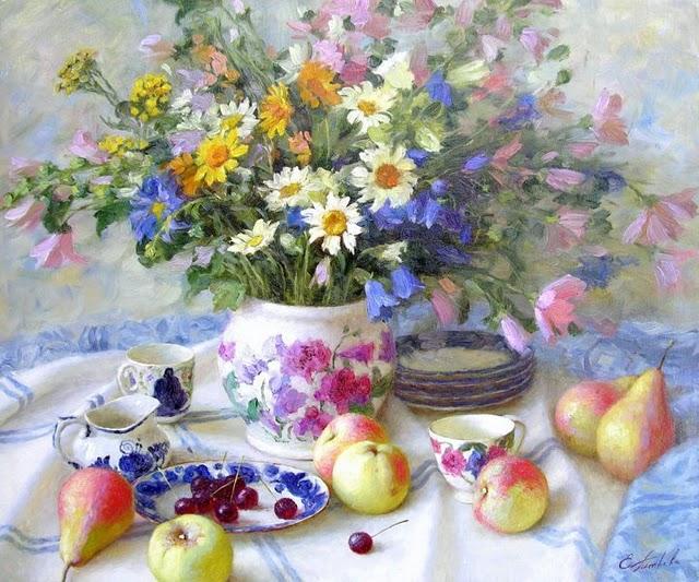 Bouquet dans un vase, une corbeille, une coupe, une poterie  180808125157406716