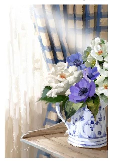 Bouquet dans un vase, une corbeille, une coupe, une poterie  180822125213817696