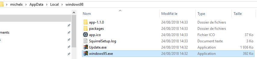Capture-chemin appdata windows95