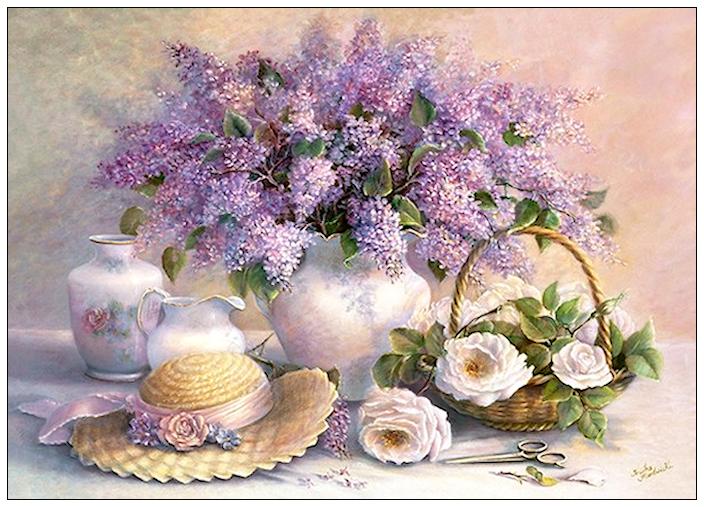 Bouquet dans un vase, une corbeille, une coupe, une poterie  180825085832212083