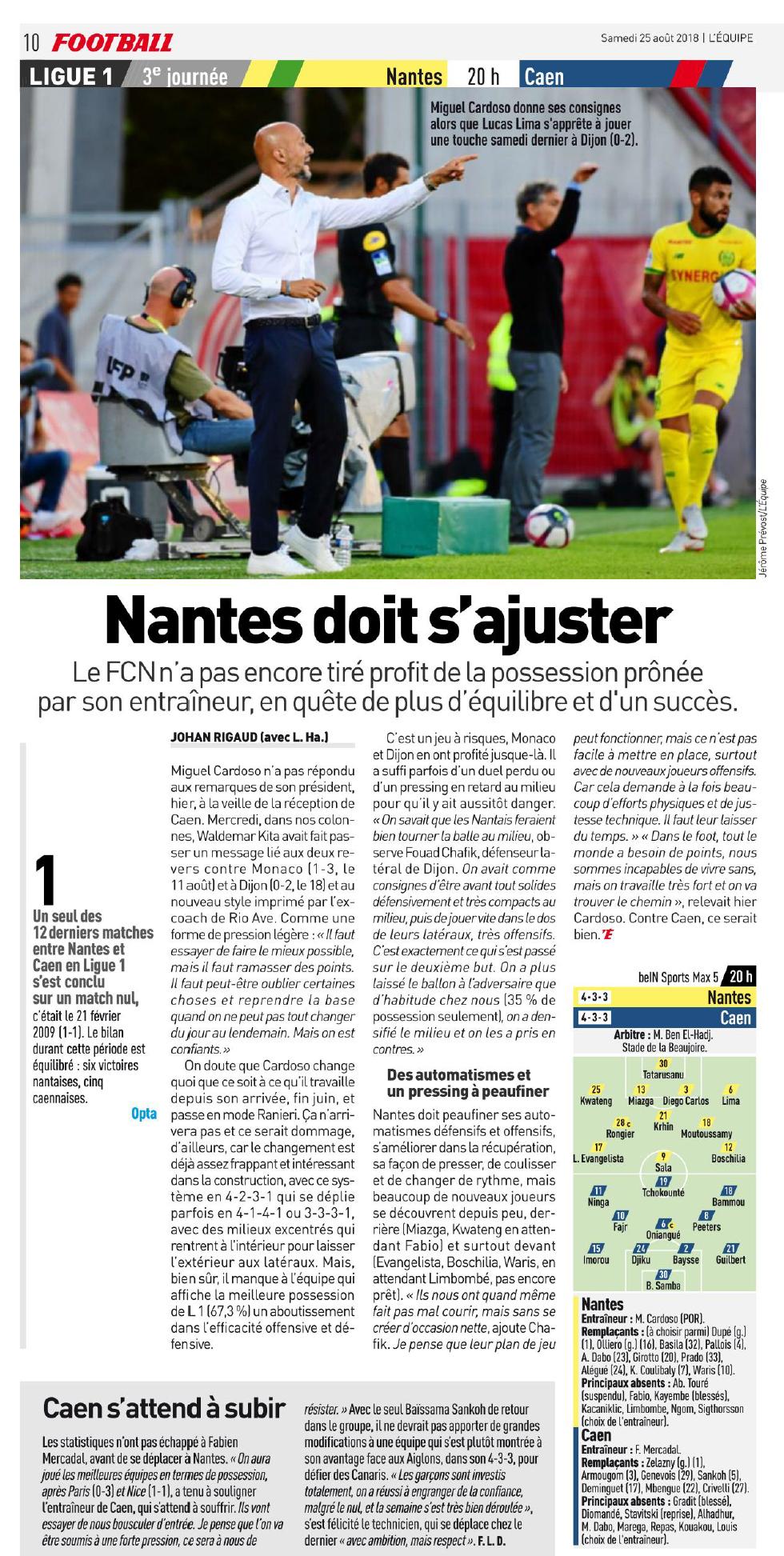 [3e journée de L1] FC Nantes 1-1 SM Caen  180825092825385731