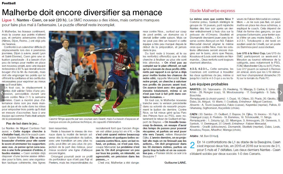 [3e journée de L1] FC Nantes 1-1 SM Caen  180825093300496685