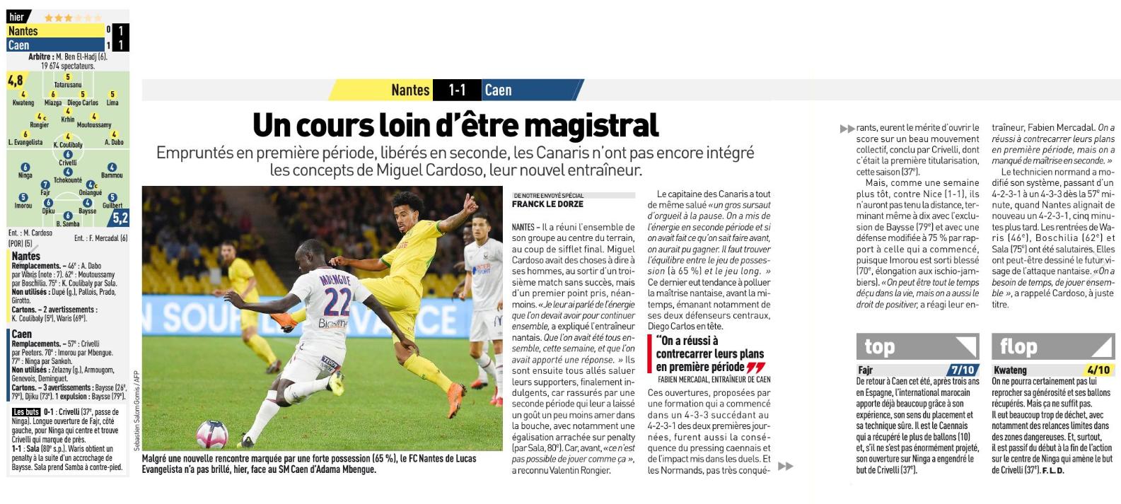 [3e journée de L1] FC Nantes 1-1 SM Caen  180826102843887094