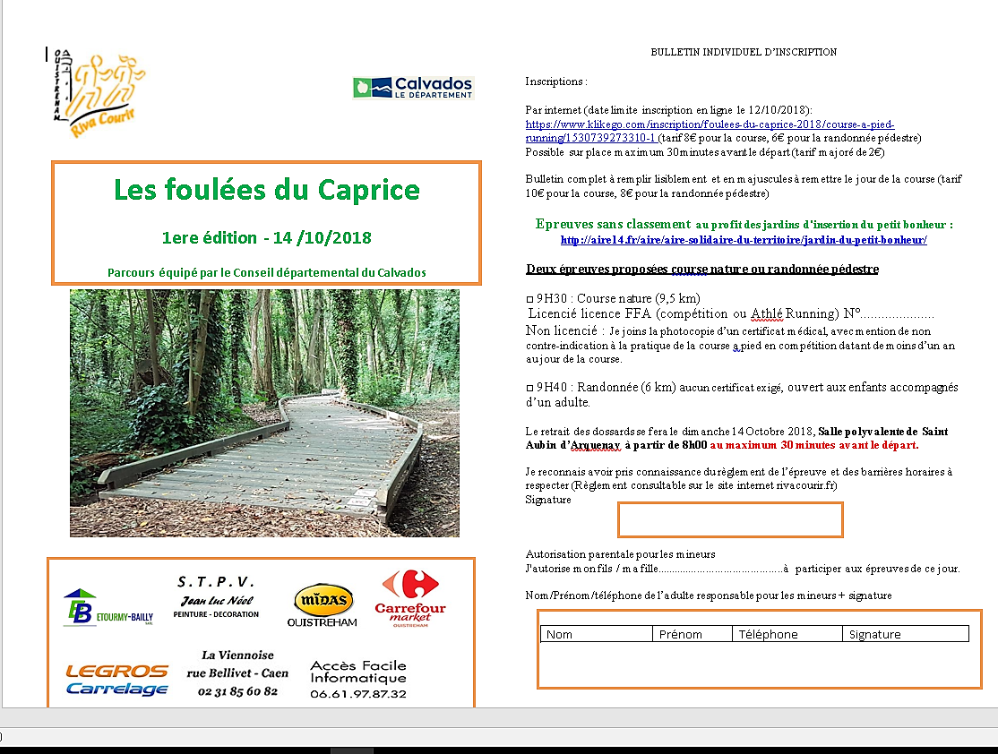 Calendrier Randonnee Pedestre Calvados.Inscription Foulees Du Caprice 2018 14970 St Aubin D